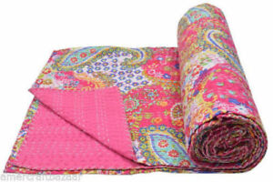 Pretty Indian Handmade Paisley Kantha Quilt Block Print Bedspread Pink Twin Size