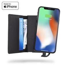 iPhone Genuine Leather Charging Wallet/Card Holder-Powerbank-Unikia Gnist- Black
