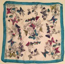 Sheer Silk Floral Hanky Handkerchief Butterflies American Made Blue