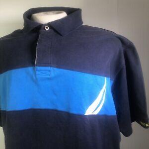 Nautica Mens Navy Blue True Deck Polo Shirt Size 2XL Short Sleeve Cotton