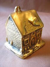 """A solid brass VTG snow covered roof """"Christmasy"""" type cottage coin/piggy bank"""