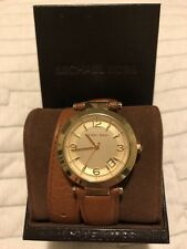 Michael Kors Runway Leather Double Wrap Watch Brown Gold Crystal MK2295