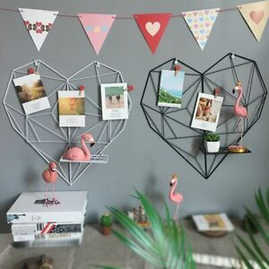 Metal Heart Shaped Wall Photos Grid Postcards Iron Square Decorative Mesh Frame