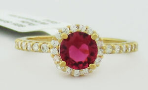 RUBY 0.86 Cts  & WHITE SAPPHIRES RING .925 Sterling Silver * NEW WITH TAG *