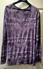 CALVIN KLEIN JEANS TOP, LONG-SLEEVE PRINTED V-NECK, DUSTY AMETHYST size M