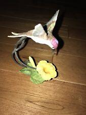 Franklin Mint Racket-Tailed Coquette Hummingbird Golden Trumpet Flower Nib