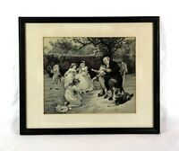 Antique Framed Woven Silk Stevengraph Fred Morgan Made France Children Playing