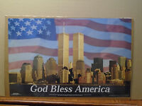 vintage New York City GOD BLESS AMERICA  9/11 Twin Towers 2001  poster 22525