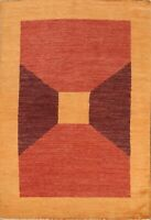 5x6 Modern Geometric NEW Gabbeh Oriental Area Rug Hand-Knotted Wool Foyer Carpet