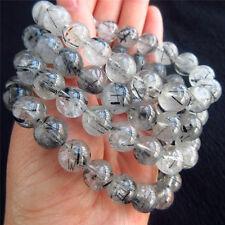 100% Natural Black Hair Tourmaline Rutilated Quartz Crystal Bracelet 10-11mm