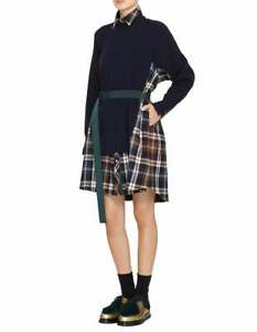 SACAI Navy Blue Wool Check Plaid Flannel Knit Stretch Sweater A-Line Dress 1