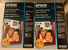 """NEW EPSON 4x6"""" Ultra-Premium Glossy Photo Paper 60-Sheets Factory Sealed INK JET"""