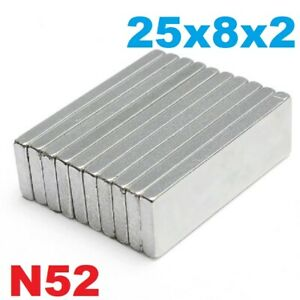 Strong Magnets 25x8x2 mm N52 grade neodymium block small thin rectangle magnet