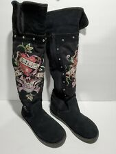 "ED HARDY Tall Boots, ""Love Kills Slowly"" Fur Lined, Tattoo Art, Ladies Size 6"
