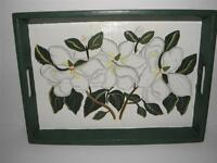 World Bazaars MAGNOLIA Handpainted DECORATIVE Collectible SERVING Lap TRAY MINT!