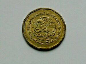 Mexico 1993 Mo 20 CENTAVOS Coin AU+ with Eagle Coat of Arms & 12-Sided Shape