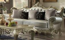 Homey Design HD-13006 Traditional Victorian Silver Tufted Living Room Set 3Pcs