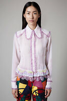 Topshop Meadham and Kirchhoff Rainbow Tucked Blouse Shirt UK 6 8 Designer Pink