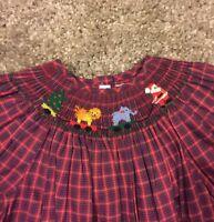 Girls Silly Goose Smocked Smocking Dress Christmas Santa Plaid Red Size 6X NWT