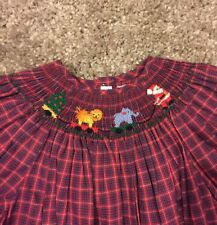 Girls Silly Goose Smocked Smocking Dress Christmas Santa Plaid Red Size 6X NWT