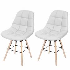 2x Esszimmerstuhl MCW-A60 II, Stuhl, Retro 50er Jahre Design Kunstleder weiß