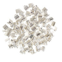 100x Crimp End Fold Over Clasps Cord End Clips Jewelry Findings Silver 6mm
