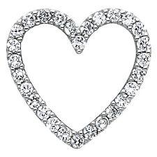 "0.25ct Diamond Large Open Heart Pendant Charm 5/8"" 0.9gr 14K Solid White Gold"