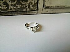 Engagement Style Ring Silver Tone Raised