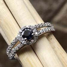 Natural Blue Sapphire Accent Stone 925 Solid Sterling Silver Engagement Ring 7