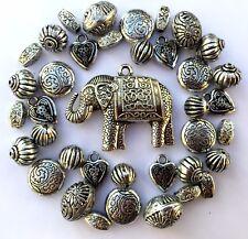 35 X Large Antique Silver Acrylic Tibetan Jewellery Making Beads Mix