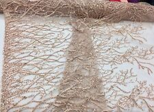Luxurious Root Tree Design Beaded Mesh Lace Fabric Bridal Blush. Sold By Yard