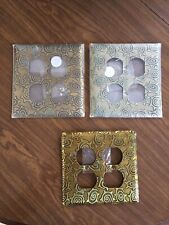 Lot of 3 Brass Metal Artsy Design Power Outlet Duplex Double Plate Cover, Vidox
