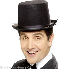 Low Cost Fancy Dress Old England Felt Top Hat Black Victorian Deluxe Fun Topper