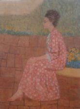Patterns:Flagstone & Pink Brocade-Woman Sitting 40x30 Oil Painting-60s-Jan Gary