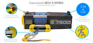 7500lb Electric Recovery Winch Superwinch S7500 24V Synthetic Rope.Warranty