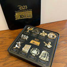 Disney D23 10th Anniversary Gold Member Exclusive Boxed 10-Pin Set New in Tin