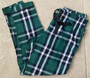 Victoria's Secret Lounge Pajama Pants Bottoms Green Plaid Size Large ~ EUC!!