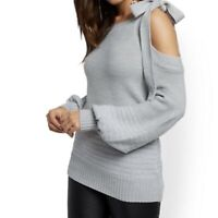 NewYork & Co Metallic /Gray One-Shoulder Sweater Size S