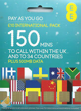 EE International Pay As You Go SIM card PAYG Nano Micro Standard Triple Cut UK