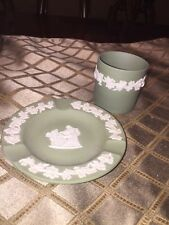 Angel Wedgwood Jasperware Green Cup Demitasse England Ash Tray 2 Pc Lot SEX ?