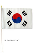 "12x18 Wholesale Lot 3 South Korea Country Stick Flag 30"" wood staff"