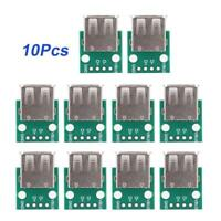 10X USB Female Socket Type A Board 2.54mm Pitch DIP Adapter Connector