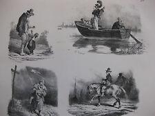 Lithographie ancienne originale Bellangé costumes romantisme Paysans enfants