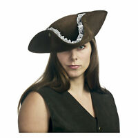 Adult Women's Lace Trim Three Point Halloween Cosplay Costume Western Pirate Hat