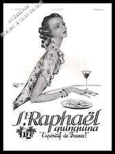 1937 St Raphael by J.G Domergue Art Deco Original French Advert Print Ad - U