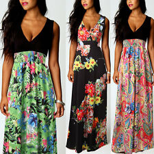 Damen Tiefer V Maxi Kleid Sommer Party Strandkleid Boho Blumenmuster Abendkleid