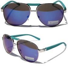 Khan Aviator Blue Chrome Metal Sunglasses Driving Blue Mirror Lens Classic 1364