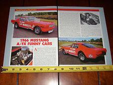 1966 FORD MUSTANG FUNNY RACE CAR GAS RHONDA - WARBUCKS - ORIGINAL 1987 ARTICLE