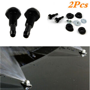 2Pcs Aluminum Car Hood Windshield Wiper Jet Water Washer Spray Nozzle Kits Black