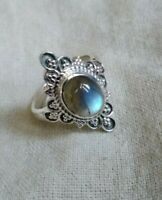 Sterling Silver Ring Blue Flash Labradorite Ring Wedding Ring Engagement Ring